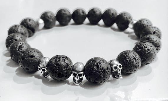 Beaded Bracelet with authentic Lava Stone and solid sterling silver