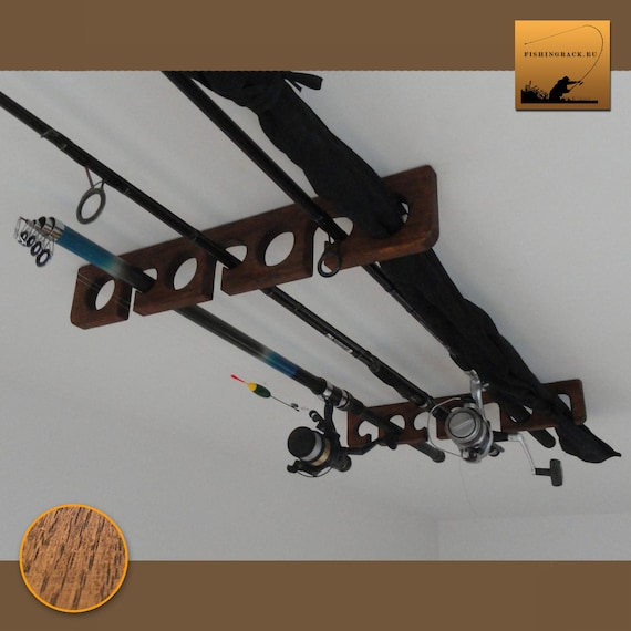 Natural finish, ash-tree Ceiling mounted Wooden Fishing Rod Holder  Rack