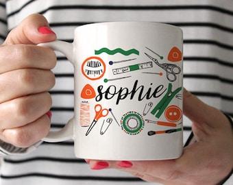 Personalized Mug, Personalized Coffee Mug, Monogram Mug, Gift for Sewer, Gift for Seamstress, Sewer Mug, Sewing Mug, Seamstress Mug, Tea Mug