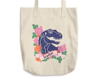 Monogram Tote Bag, Dinosaur Tote Bag, Dinosaur Bag, Tumblr Tote Bag, Tumblr Aesthetic, Personalized Tote Bag, Monogram Bag, Canvas Bag,