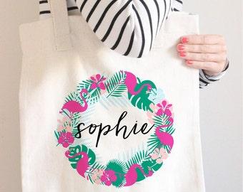 Personalized Tote Bag, Monogram Tote, Flamingo Bag, Flamingo Tote, Personalized Bag, Monogram Bag, Custom Name Tote Bag, Canvas Bag, Leaf,