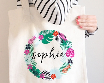 Monogram Bag, Personalized Tote Bag, Monogram Tote, Pineapple Bag, Pineapple Tote, Personalized Bag, Custom Name Tote Bag, Canvas Bag,