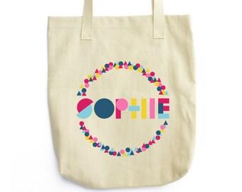 Personalized Bag, Personalized Tote Bag, Monogram Tote, Geometric Bag, Geometric Tote, Monogram Bag, Custom Name Tote Bag, Canvas Bag,