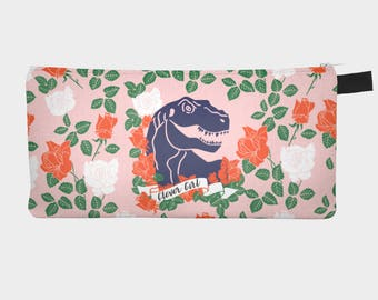 Dinosaur Pencil Case, Clever Girl Pencil Pouch, Girls Pencil Case, Pink Pencil Bag, Floral Pencil Case, Cool Pencil Case, School Supplies