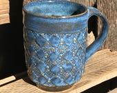 Blue on Blue patterned mug