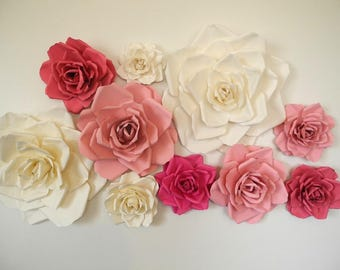 Paper flower wall etsy 10 piece paper flowers handmade weding roses party decor bridal shower baby paper flowers nursery wall decor wedding arch mightylinksfo