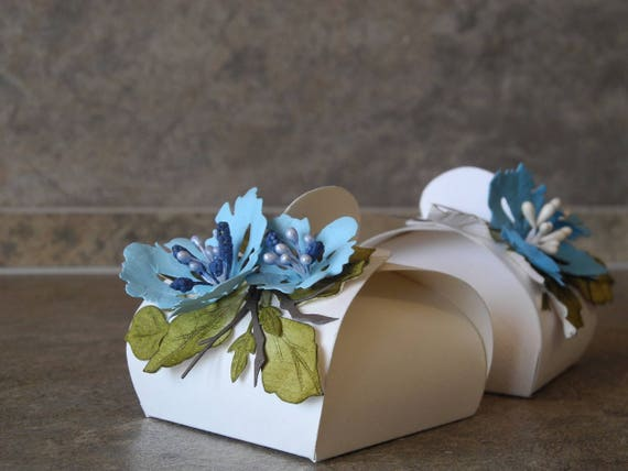 Blue Flower Box Baby Shower Favor Wedding Baptism Gift