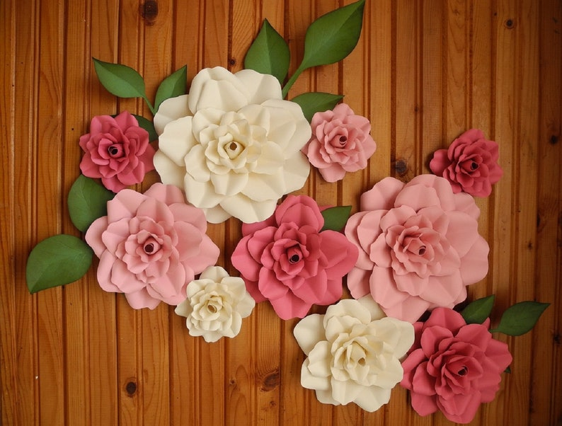 bridal flower backdrop wall flowers Nursery Paper Flower Set of 10 Large Flowers wedding baby shower