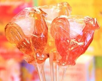 9 Large Quince sugar rooster, lollipops, natural hard candy Lollipops Rooster on stick, handmade, no food additives (Lutscher) Caramel