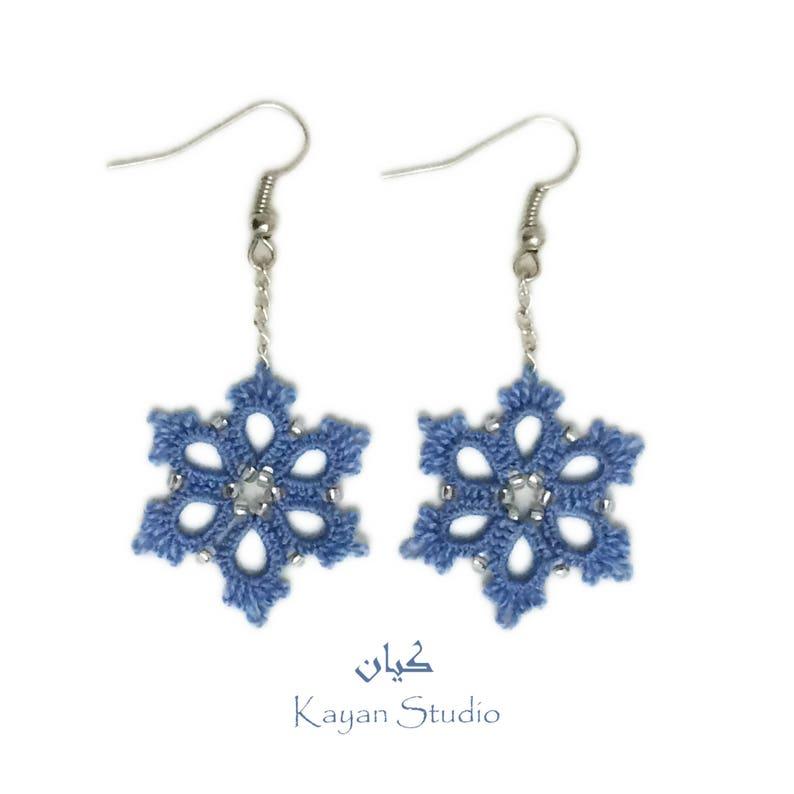 Snowflake Earrings \\ Tatted Lace Earrings \\ Frozen Flowers \\ Blue lace earrings \\  NY gift \\ Christmas present \\ Winter holidays earrings