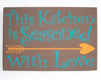 This Kitchen Seasoned With Love, brown teal and orange decor, kitchen decor