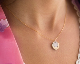 Solid Gold 14K Eclipse, Wheel, Eagle & Snowflake Pendants, Mother of Pearl and Solid Gold 14K Charm, Unique Shaped,Necklace