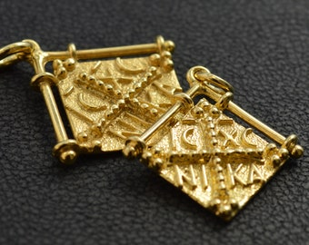 Solid Gold Christian Pendtant made in 14K & 18K, By Byzantine Era, Konstantinata, Handmade, Gold Double Sided, Vintage Necklace, Great Gift