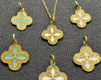 Solid Gold Christian Pendtant made in 14K and 18K,Cross, Charm, White Pink and Ciel Enamel Glass,By Byzantine Era,Talisman,Cross, Necklace