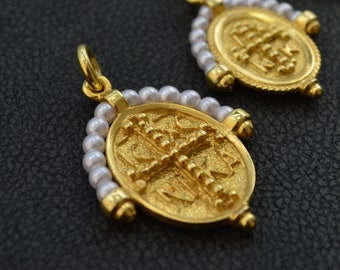 Solid Gold Christian Pendtant made in 14K and 18K, By Byzantine Era, 'Konstantinata', With white beads, Gold Double Sided, Vintage Necklace