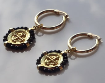 Ancient Earring Hoops and Pendtant made in 14K Solid Gold, 'Konstantinata', with beads, Double Sided, Vintage Necklace, Always in fachion