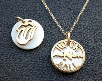 Solid gold 14K Rock and Roll & Rolling Stones Pendants, with Mother of Pearl, Gold Pendant, Unique Shaped,Music Band charm,Necklace