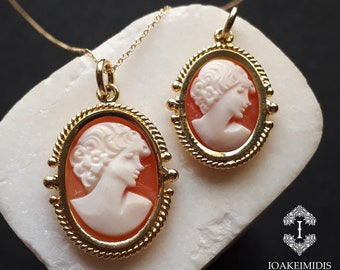 Cameo Pendant, Solid Gold 14K, Vintage, Necklace, White and Peach Color Cameo, Portrait of a Woman Cameo Pendant, Pendant In Yellow Gold