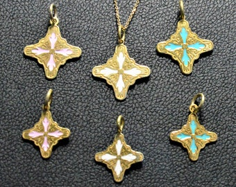 Solid Gold Christian Pendtant made in 14K & 18K,Cross, Charm, White Pink and Ciel Enamel Glass,By Byzantine Era,Talisman,Cross, Necklace