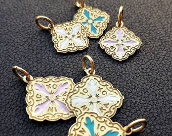 Solid Gold Christian Pendtant made in 14K & 18K,Cross, Charm, White Pink and Ciel Enamel Glass,By Byzantine Era,Talisman, Vintage Necklace