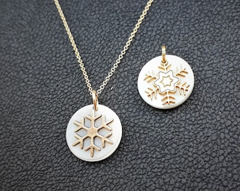 Solid Gold 14K Snowflake Pendants, Mother of Pearl and Gold 14K Charm, Unique Shaped, Gold with Mother of Pearl, Necklace, Great Gift