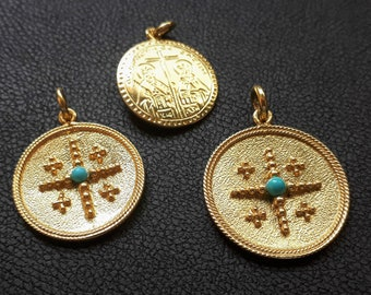 Solid Gold Christian Pendtant made in 14K & 18K, By Byzantine Era, 'Konstantinata',with Turquoise bead, Gold Double Sided, Vitage necklace