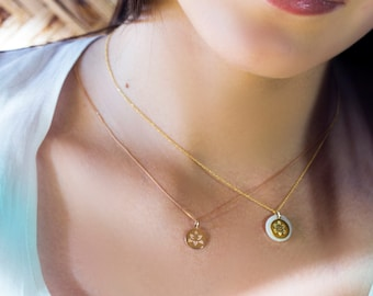 Solid Gold 14k Oriental & Flower Pendants, Mother of Pearl and Gold 14K Charm, Gold Pendant, Unique Shaped,Vintage Necklase, Great Gift,