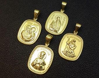 Orthodox Saint Pendants, Saint Nicholas, Saint Christopher, Saint Peter & Paul, Saint Stylianos, Gold 14K pendants, Orthodox, Greek Religion