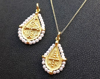 Solid Gold Christian Pendtant made in 14K & 18K, By Byzantine Era, 'Konstantinata',with white beads, Gold Double Sided,Vintage Necklace,Gift