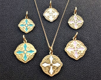 Solid Gold Christian Pendtant made in 14K & 18K,Cross, Charm, White Pink and Ciel Enamel Glass,Inspired Byzantine Era,Talisman,Necklace,Gift