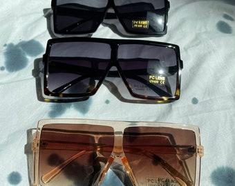 Square Oversized Sunglasses Pink/Black/Leopard