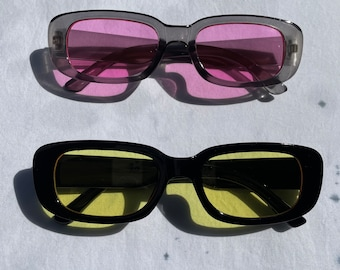 Retro Rectangle Black/Gray Frame Sunglasses