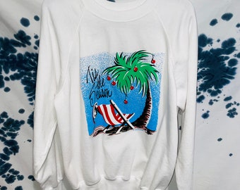 Vintage 1989 Tis The Season Palm Tree Sweatshirt