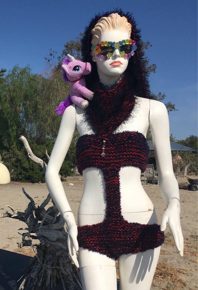 Lady Ninja Custom created Mono Kini Hand Knit Grounded By Gia
