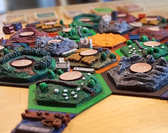 3d resource tiles set // Handmade boardgame // Sculpted 3d terrain tiles //
