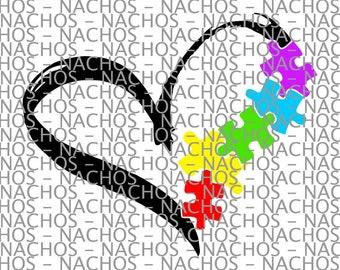 Autism Heart Puzzle Piece Vinyl Decal SVG HTV Digital File