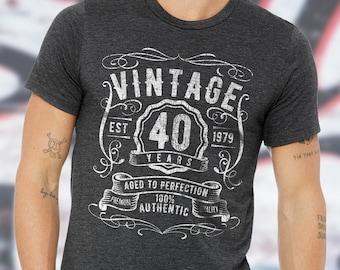 9248d759 Vintage 40 Years 1979 40th Birthday Shirt - 40th Birthday Gifts For Women &  Men - Custom Gift for man - 40th Birthday Shirts - 40th Husband