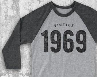 4fa3f7eaa096c3 Vintage 1969 Raglan Baseball Tee 50th birthday gifts for women and men -  1969 50th Birthday shirts for her and him - 50th Birthday Gifts