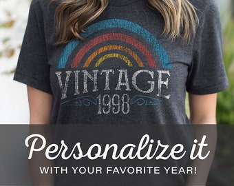 Personalized Gifts, Custom Year Vintage Rainbow Birthday Shirts for Men & Women - T-Shirt, Gift Ideas, 21st Birthday for Her, 50th for woman