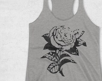 a92204799b22ed Flower Design Shirt - Vintage Rose Tank Top - Minimal Tanks for Women -  Graphic Tees - Gym Tanks - Retro Rose Silhouette tee - Unique