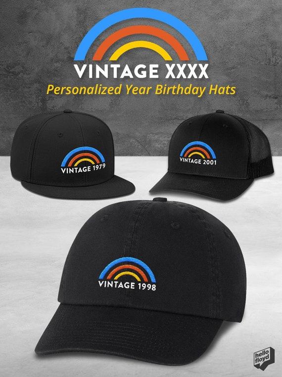 Vintage Rainbow Personalized Year Baseball Cap for Women   Men  1833ec7d84f