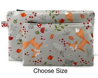 Foxes Squirrels Woodland Owls Hedgehog Rabbit Mini Zipper Case Cotton zipper case 3.5 x 5.5 with 4 zipper