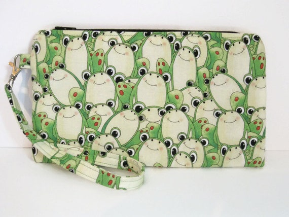 Gift 9x5 Coupon Holder Gift Card Flat Zipper Pouch Optional Wrist Strap Frog Fabric Gadget Bag Pencil Case Small Zip Pouch Notions