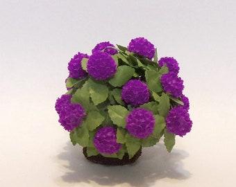 Miniature Dollhouse Flowers 1:12 Scale Purple Hydrangea Plant Collectible