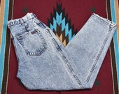 1980s Clothing, Fashion | 80s Style Clothes Vintage 80s High Waisted Acid Washed Denim Mom Jeans $51.00 AT vintagedancer.com