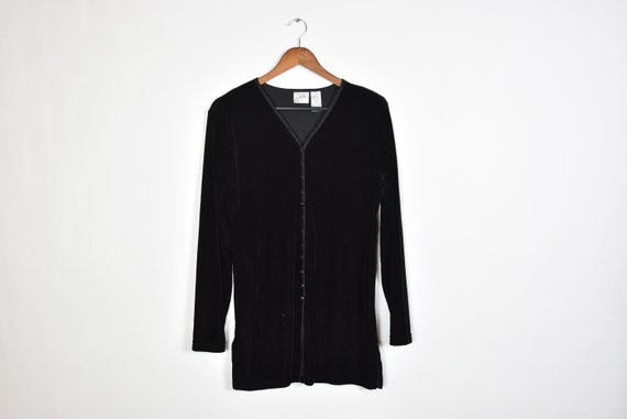 Vintage Black Velvet Button Up 80's Dress