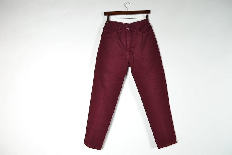f1d2fd9316e2 Maroon High Waisted Mom Jeans | Etsy