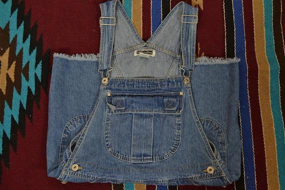 Denim Blue Cutoff Bib Overall Dungaree Shorts - image 3