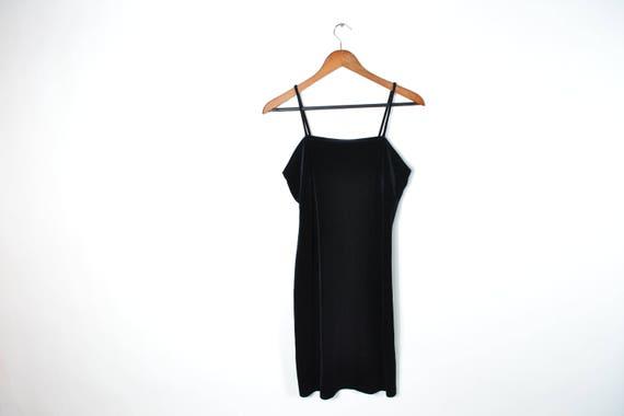 Vintage Black Velvet Spaghetti Strap Dress
