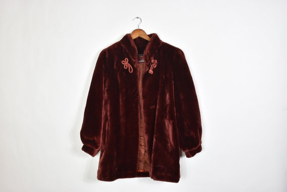 Vintage Rare Wine Red Velvet 80's Heavy Winter Ove